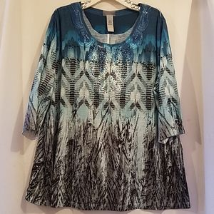 CATHERINES 1X 3/4 SLEEVE KNIT TOP